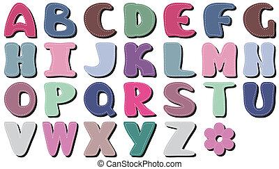 스크랩북, 알파벳, 백색 위에서