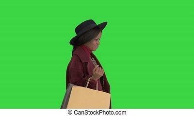 스크린, 검정, 쇼핑, 소녀, 상의, key., 모자, 유행, 미국 영어, 미소, african, ...