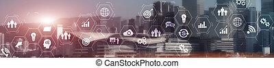스크린, 기업, 계획, intelligence., 접속, 사이의, 체계, 사실상, erp, 자원, 사업