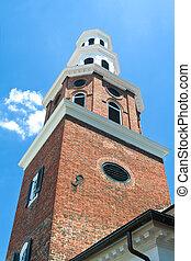 스타일, 늙은, georgian, 교회, 그리스도, 뾰족탑, va, 도시, 알렉산드리아