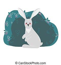 스타일, 삽화, 손, 토끼, 귀여운, 들토끼, plants., 그어진, 배경, 스칸디나비아 사람