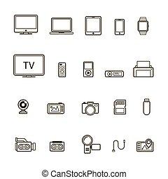 스타일, 세트, 멀티미디어, 고립된, 삽화, 배경., 벡터, 검정, 장치, 선, 백색, 아이콘