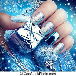 스타일, 예술, 겨울, 크리스마스, 손톱, 밝은, 디자인, 매니큐어, 휴일, manicure.