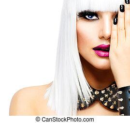 스타일, 유행, 아름다움, 뒤떨어진, 고립된, girl., 여자, 백색