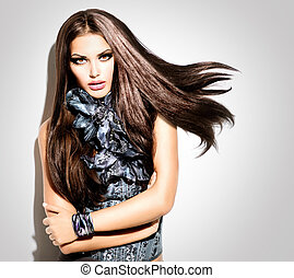 스타일, 유행, 아름다움, 여자, portrait., 모델, 소녀, 유행