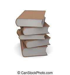 스택, 의, 갈색의, books., 3차원, 표현된다, illustration.