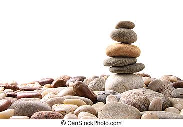 스택, 의, 조약돌, 돌, 백색 위에서