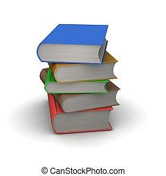 스택, 의, books., 3차원, 표현된다, illustration.