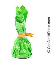 스튜디오 탄, 의, 초콜릿 과자, 단 것, 에서, 녹색, 꾸러미, 고립된, 백색 위에서, 배경.