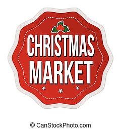 스티커, 상표, 또는, 시장, 크리스마스