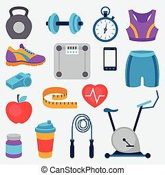 스포츠와 건강, 아이콘, 세트, 에서, 바람 빠진 타이어, style.