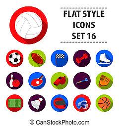 스포츠와 적당, 세트, 아이콘, 에서, 검정, style., 크게, 수집, 의, 스포츠와 적당, 두값본, 상징, 주식 일러스트