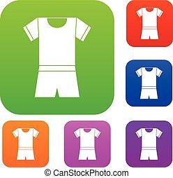 스포츠, 셔츠, 와..., 반바지, 세트, 수집