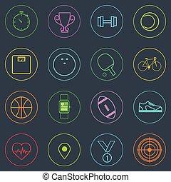 스포츠, 적당, 아이콘, 세트, 은 선을 엷게 한다, 단일의, 다채로운