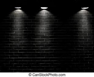 스포트라이트, 통하고 있는, a, 검정, 벽돌 벽