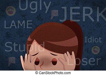 슬픈, 소녀, 도착하는 것, cyber, 괴롭히는 것