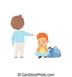 슬픈, 소년 착석, 바닥에, 동급생, 비웃는 것, 와..., 뾰족하게 함, 그, 나쁜 행동, 충돌, 사이의,...