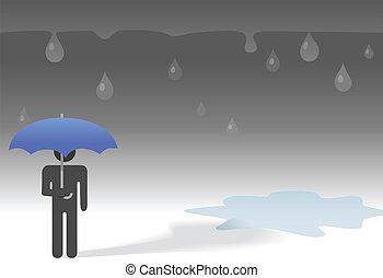 슬픈, 어둡다, 비오는 날, 상징, 사람, 억압되어, 우산, &, 빗방울