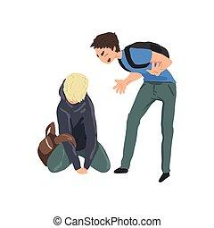 슬픈, 10대의 소년, 마루에 앉아 있는 것, 또 하나의, 소년, 비웃는 것, 그, 충돌, 사이의, 아이들,...