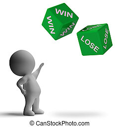 승리, 벗어나다, 주사위, 전시, 도박을 하다