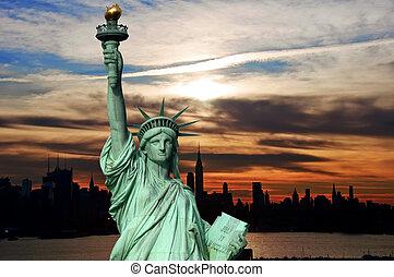 시간 전에, 해돋이, 도시 풍경, skyline 실루엣, 미국