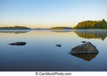 시간 전에, 호수, 아침