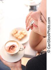 시간, 커피, 즐기, 젊은 숙녀