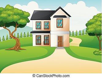 시골의 풍경, 와, 녹색 풀밭, 와..., 집
