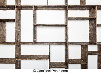 시골풍, 스타일, 선반, 백색 위에서, 벽