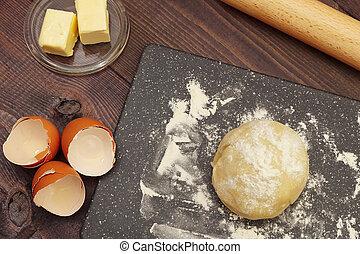 시골풍, 제작, 테이블., 성분, 반죽, 가정, 제자리표, 빵 굽기, 멍청한