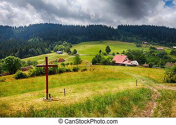 시골, 농장, kysuce, 여름