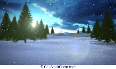 시골, 눈, 눈이 듯한