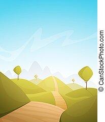 시골, 만화, 조경술을 써서 녹화하다