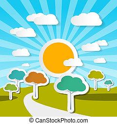 시골, 벡터, 조경술을 써서 녹화하다, 자연, 삽화, 와, 종이, 나무