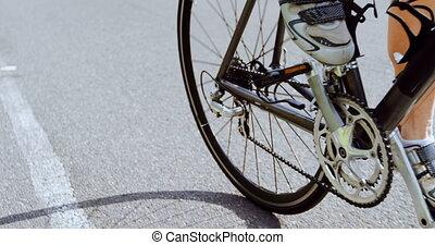 시골, 자전거 타는 사람, 순환, 길, 4k, 연장자