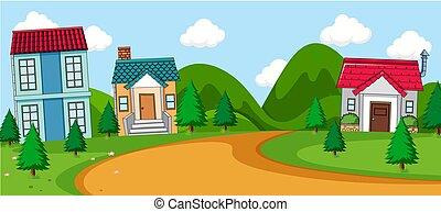 시골 장면, 마을