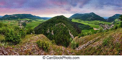 시골, 파노라마, 녹색 산