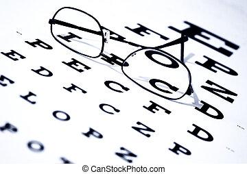 시력 검사표, 안경