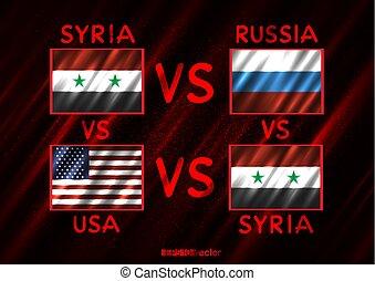 시리아, 러시아, 미국, 충돌