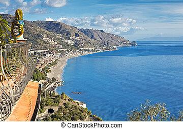 시실리, taormina, 해안선, 이탈리아