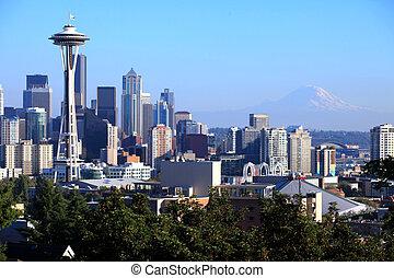 시애틀 skyline, &, mt. 비가 오는, wa.
