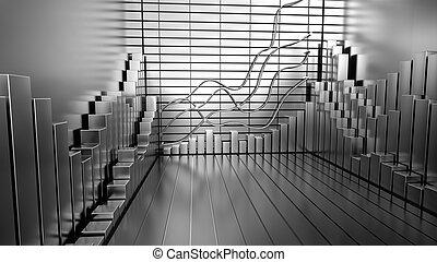 시장, 도표, 배경, 주식