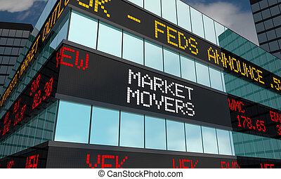 시장, 이주자, 증권 거래소, 시계, 낱말, 3차원, 삽화