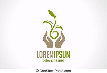 식물, 떼어내다, 녹색, 손을 잡는 것, 로고, icon., concept.