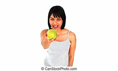 식사를 하고 있는 여성, 자형의 것, 애플