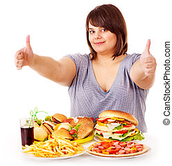 식사를 하고 있는 여성, fast, 음식.