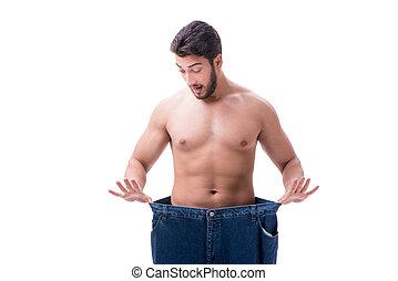 식이요법을 함, 개념, jeans, 특대, 남자