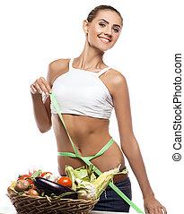 식이요법을 함, 여자, 건강한, 채식주의자, -, 나이 적은 편의, 음식, 개념, 보유, vegetable., 바구니, 행복하다