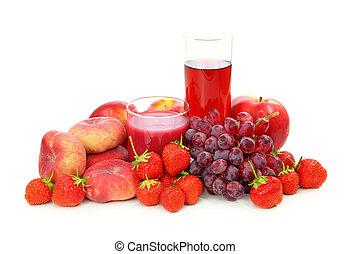 신선한 과일, 빨강, 주스