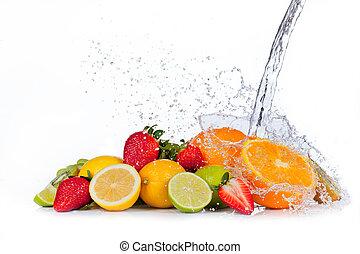 신선한 과일, 와, 물, 튀김, 고립된, 백색 위에서, 배경